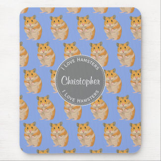 Blue I love Hamsters Hamster Pattern Mouse Pad