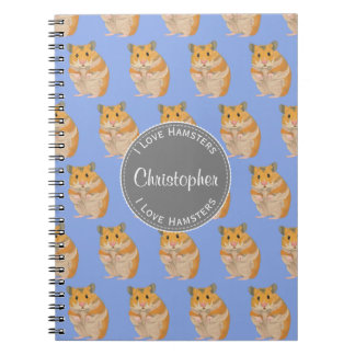 Blue I love Hamsters Hamster Pattern Spiral Notebook