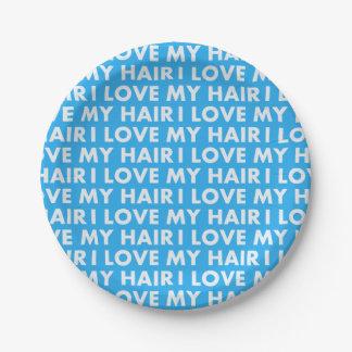 Blue I Love My Hair Bold Text Cutout Paper Plate
