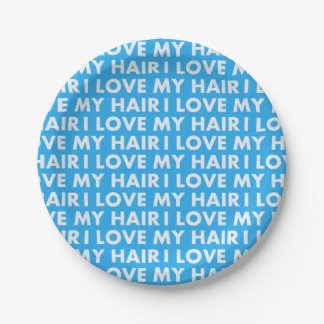 Blue I Love My Hair Cutout Paper Plate