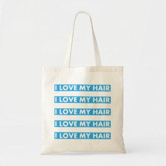 Blue I Love My Hair Cutout Tote Bag