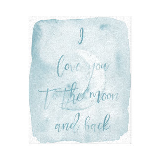 Blue I love you to the moon and back Canvas Print