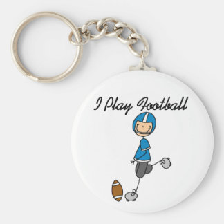 Blue I Play Football Key Chains