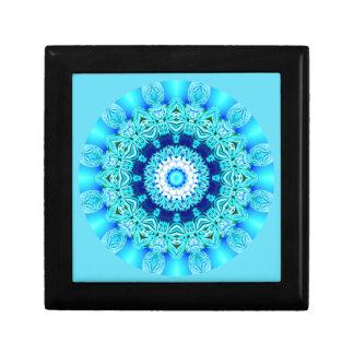 Blue Ice Lace Mandala, Abstract Aqua Gift Box
