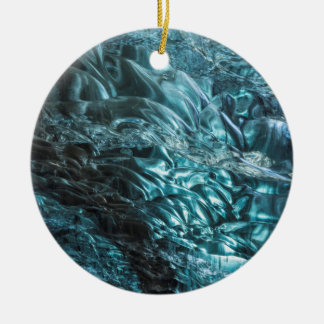 Blue ice of an ice cave, Iceland Ceramic Ornament