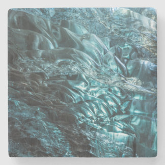 Blue ice of an ice cave, Iceland Stone Coaster
