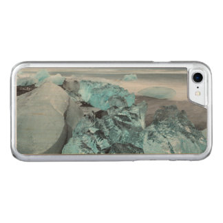 Blue ice on beach seascape, Iceland Carved iPhone 8/7 Case