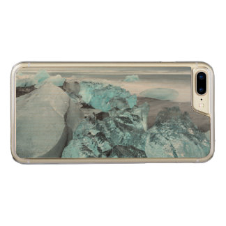 Blue ice on beach seascape, Iceland Carved iPhone 8 Plus/7 Plus Case