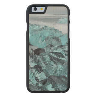 Blue ice on beach seascape, Iceland Carved Maple iPhone 6 Case