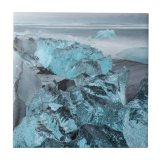Blue ice on beach seascape, Iceland Ceramic Tile