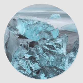 Blue ice on beach seascape, Iceland Classic Round Sticker