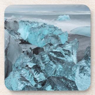 Blue ice on beach seascape, Iceland Coaster
