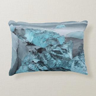 Blue ice on beach seascape, Iceland Decorative Cushion