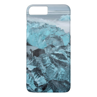 Blue ice on beach seascape, Iceland iPhone 7 Plus Case