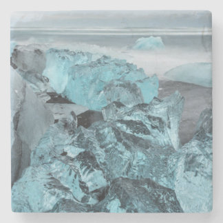 Blue ice on beach seascape, Iceland Stone Coaster