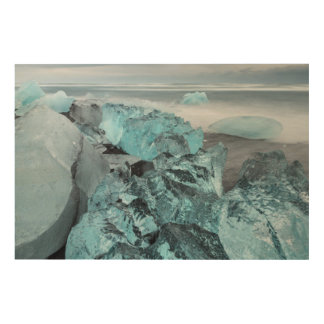 Blue ice on beach seascape, Iceland Wood Wall Art