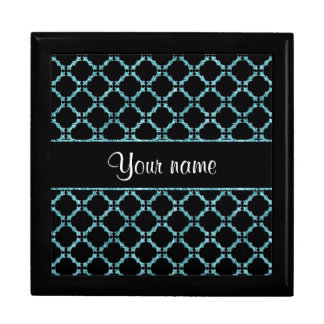 Blue Ice Quatrefoil on Black Background Large Square Gift Box