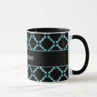 Blue Ice Quatrefoil on Black Background Mug