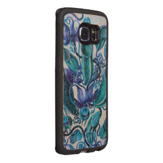 Blue Ice Vintage Flowers Wood Phone Case