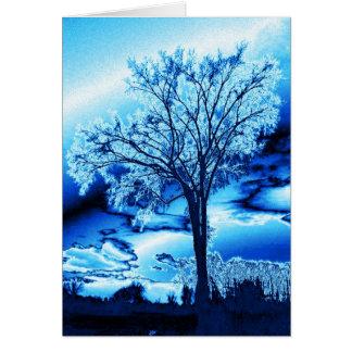 Blue Iced Tree Card (blank)