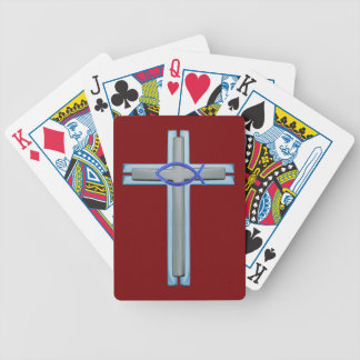 Blue Ichthus Cross Bicycle Playing Cards