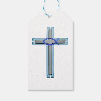Blue Ichthus Cross Gift Tags