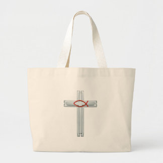 Blue Ichthus Cross Large Tote Bag