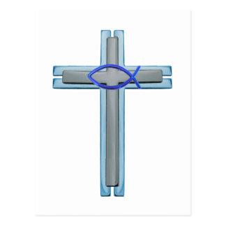 Blue Ichthus Cross Postcard