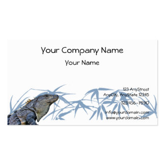 Blue Iguana with Blue Leaves Background Business Card