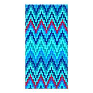 Blue Ikat Chevron Geometric Zig Zag Stripe Pattern Photo Greeting Card