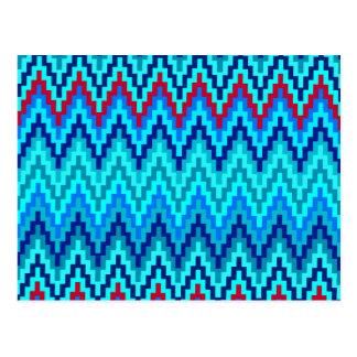 Blue Ikat Chevron Geometric Zig Zag Stripe Pattern Postcard
