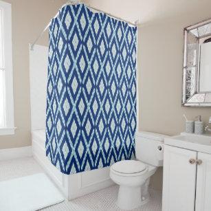 Blue Ikat Pattern Shower Curtain