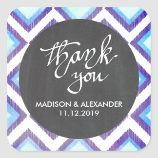 Blue Ikat Vintage Chalkboard Wedding Thank You Square Sticker
