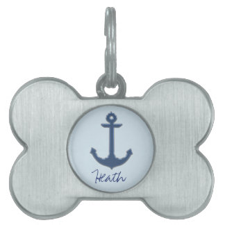 Blue Image of Metallic Anchor Pet Name Tag