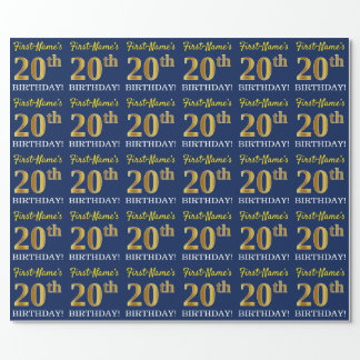 "Blue, Imitation Gold Look ""20th BIRTHDAY"" Wrapping Paper"