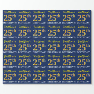 """Blue, Imitation Gold Look """"25th BIRTHDAY"""" Wrapping Paper"""