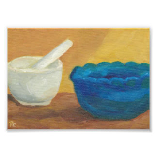 Blue Impressionist Original Oil Mortar Pestle Photo