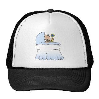 blue in bassinet cap