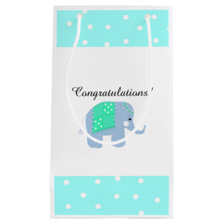Blue Indian Elephant Small Gift Bag