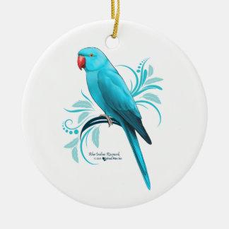 Blue Indian Ringneck Parrot Ceramic Ornament