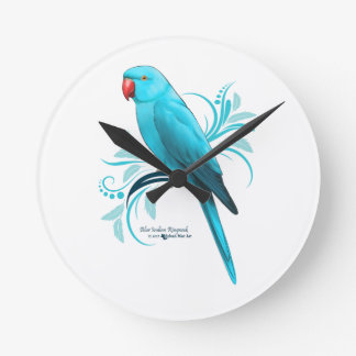Blue Indian Ringneck Parrot Round Clock