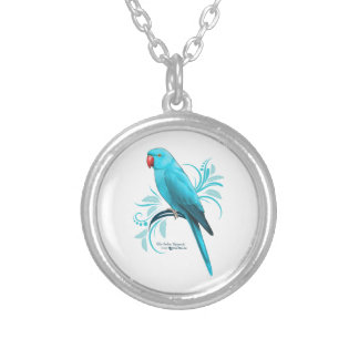 Blue Indian Ringneck Parrot Silver Plated Necklace