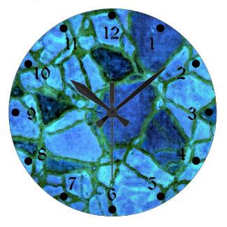 Blue Indigo Mosaic Large Clock