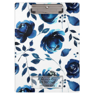 Blue Indigo Shabby Chic Glam Floral Personalized Clipboard