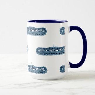 Blue Industrial Machinery Tank Tracks Vintage Mug