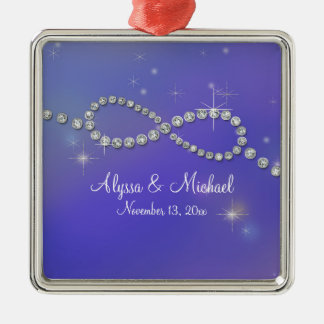 Blue Infinity Symbol Sign Infinite Love Twinkling Silver-Colored Square Decoration