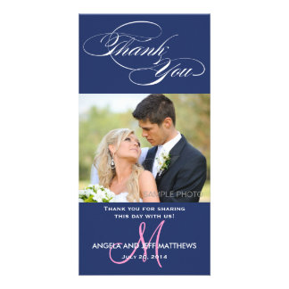 BLUE INITIAL SCRIPT WEDDING THANK YOU PHOTO CARD