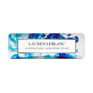 Blue Ink Silver Border Return Address Return Address Label