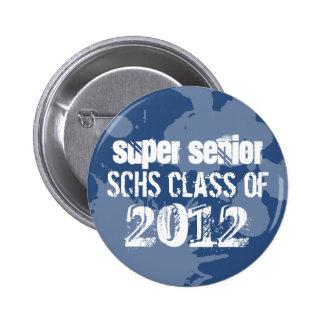 Blue ink splatter school senior class of grunge 6 cm round badge