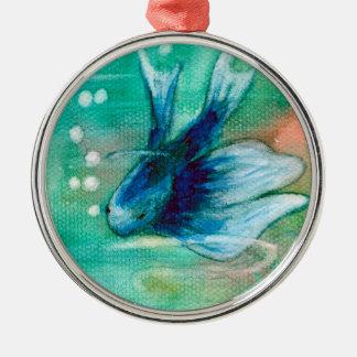 Blue Inky Betta Fish Metal Ornament